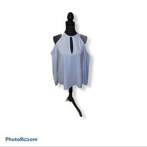 Tobi light blue off shoulder long sleeve t…